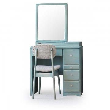フェアリーテール(ベビーブルー)一面鏡ドレッサー椅子付き ハンドル3種類