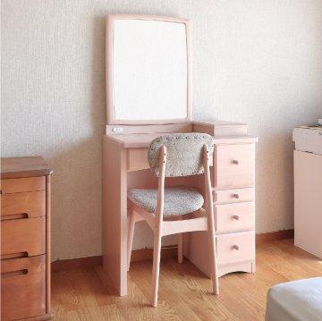 フェアリーテール(スモーキーピンク)一面鏡ドレッサー椅子付き ハンドル3種類