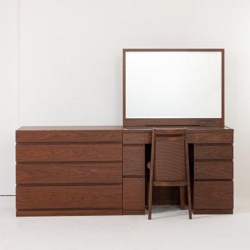 プレセディオ(ブラウン)一面鏡ワイドミラーホテルドレッサー椅子・スタンドライト付き
