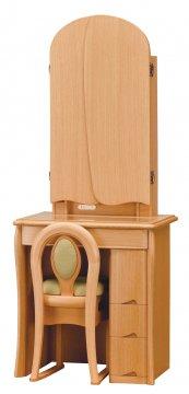 キュアベル女優ミラー(ライトブラウン)半三面鏡LEDドレッサー椅子付き