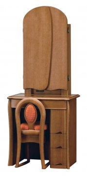 キュアベル女優ミラー(ダーク)半三面鏡LEDドレッサー椅子付き