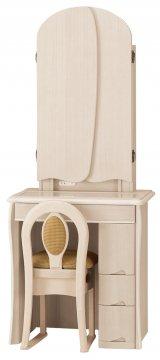 キュアベル女優ミラー(アンティークホワイト)半三面鏡LEDドレッサー椅子付き