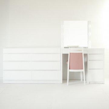 リッツ女優ミラー + チェスト120(パールホワイト)一面鏡ハリウッドミラー LEDドレッサー椅子付き