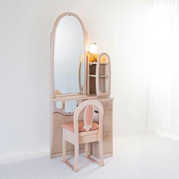オパール2(ミルキーホワイト)姿見クラシックドレッサー椅子・アームランプ付き