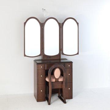 ローレル2(アンティークウォールナット)本三面鏡アームランプドレッサー椅子付き