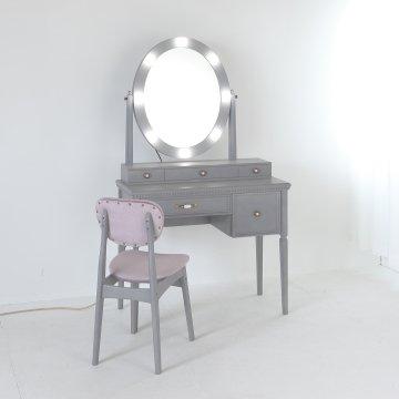 リッツ女優ミラー + チェスト90×2台(パールホワイト)一面鏡ハリウッドミラー LEDドレッサー椅子付き【セット割】