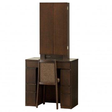 ロッシェル両袖収納女優ミラー(ウェンジ)半三面鏡LEDドレッサー椅子付き