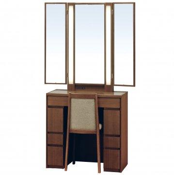 ロッシェル両袖収納女優ミラー(ウォールナット)半三面鏡LEDドレッサー椅子付き