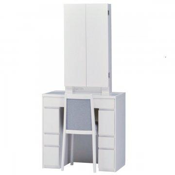 ロッシェル両袖収納女優ミラー(ホワイト)半三面鏡LEDドレッサー椅子付き