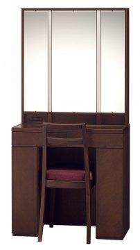 アルエット女優ミラー(ウェンジ)半三面鏡LEDドレッサー椅子付き