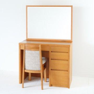 アダージョ(ミディアムチェリー)一面鏡ワイドミラーホテルドレッサー椅子付き