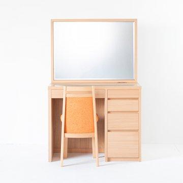 【次回お届け4月20日】アダージョ(ナチュラル)一面鏡ワイドミラーホテルドレッサー椅子付き