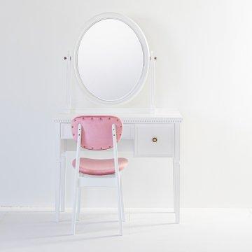 ロワール(パールホワイト)一面鏡クラシックドレッサー椅子付き