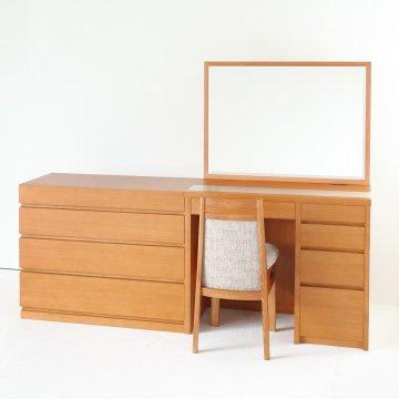 次回5月末 アダージョ + チェスト(ミディアムチェリー)一面鏡ワイドミラーホテルドレッサー椅子【セット割】