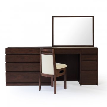 アダージョ + チェスト(ウェンジ)一面鏡ワイドミラーホテルドレッサー椅子付き【セット割】