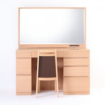 レント120(ナチュラル)一面鏡ワイドミラーホテルドレッサー椅子付き
