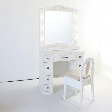 オーダードレッサー残金ご請求(製作90ベース)78cmホワイト両袖調光付きドレッサー椅子付き