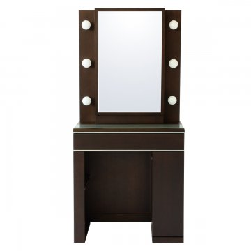 【セール】ディンプル女優ミラー(ウェンジ)一面鏡ハリウッドミラー LEDドレッサー椅子付き
