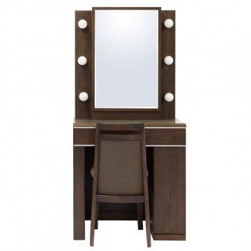 【セール】ディンプル女優ミラー(ウォールナット)一面鏡ハリウッドミラー LEDドレッサー椅子付き