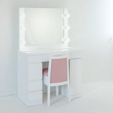プリマ女優ミラー(パールホワイト)一面鏡ハリウッドミラー LEDドレッサー椅子付き