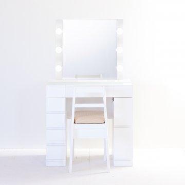 クリスタルSofia女優ミラー(パールホワイト)一面鏡ハリウッドミラー LEDドレッサー椅子付き