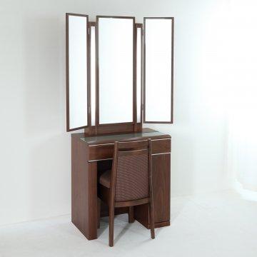 ルフラン片袖・ライトアップ女優ミラー(ウォールナット)7分三面鏡LEDドレッサー椅子付き