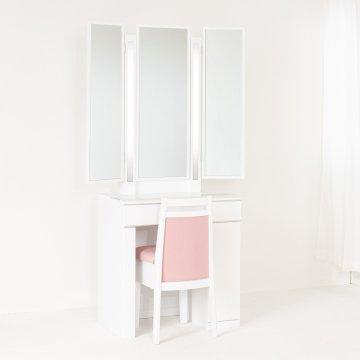 ルフラン片袖・ライトアップ女優ミラー(パールホワイト)7分三面鏡LEDドレッサー椅子付き