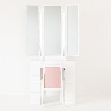 ルフラン75両袖・ライトアップ女優ミラー(パールホワイト)7分三面鏡LEDドレッサー椅子付き