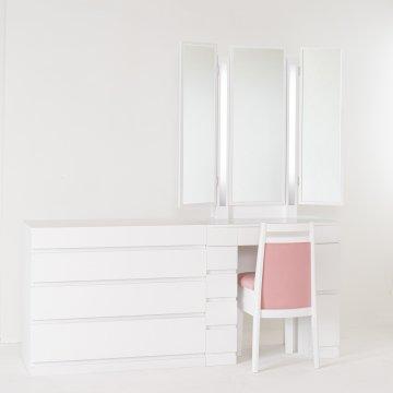 ルフラン75両袖+チェスト90・ライトアップ女優ミラー(パールホワイト)7分三面鏡LEDドレッサー椅子付き