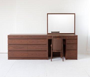 アダージョ + チェスト120(4色)一面鏡ワイドミラーホテルドレッサー椅子付き【セット割】