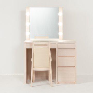 リッツ女優ミラー(ミルキーホワイト)一面鏡ハリウッドミラー LEDドレッサー椅子付き