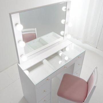 カンタービレ 女優ミラーガラス天板(パールホワイト)一面鏡ハリウッドミラー LEDドレッサー椅子付き