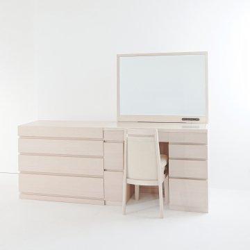 レント95+プラスチェスト90(ミルキーホワイト)一面鏡ワイドミラーホテルドレッサー椅子付き
