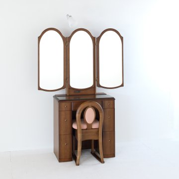 ローレル2(アンティークブラウン)本三面鏡アームランプドレッサー椅子付き