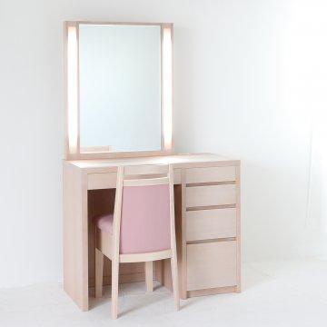 モデラート女優ミラードレッサー (ミルキーホワイト) 一面鏡デスクLED椅子付き