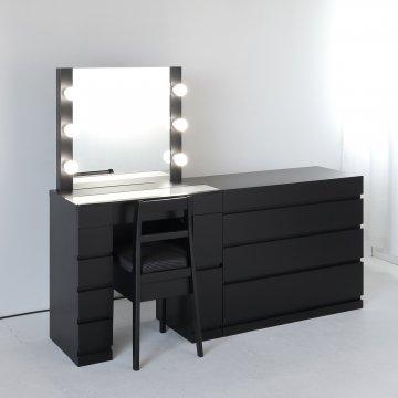 クリスタルSofia女優ミラー(ブラック)一面鏡ハリウッドミラー LEDドレッサー椅子付き