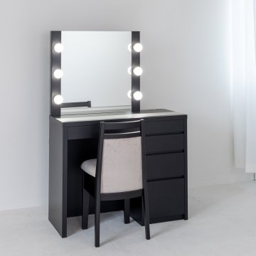 リッツ女優ミラー(ブラック)一面鏡ハリウッドミラー LEDドレッサー椅子付き