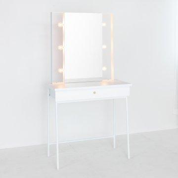 スタジオ女優ミラー(ホワイト×ホワイト)美容サロンセット面 一面鏡ハリウッドミラー ドレッサー