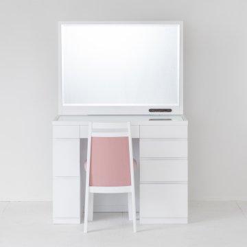 レント95(パールホワイト)デスク型一面鏡ワイドミラーホテルドレッサー椅子付き