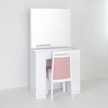 クリスタル(パールホワイト)一面鏡ホテルドレッサー椅子付き