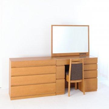 レント95+プラスチェスト90(ミディアムチェリー)一面鏡ワイドミラーホテルドレッサー椅子付き