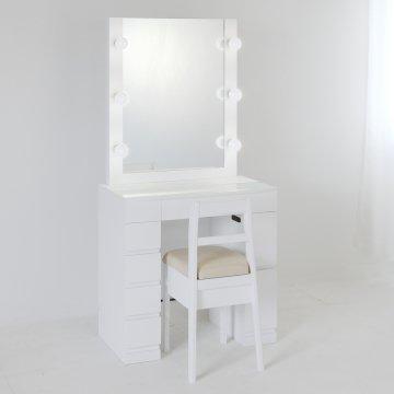 【受注製作】ミラー高さ20cmアップ クリスタルSofia女優ミラー(パールホワイト)一面鏡LEDドレッサー椅子付き