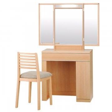 三面鏡ドレッサー【フルール】収納ドレッサー椅子付き