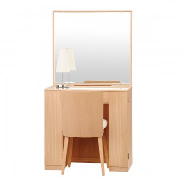 クリスタル(ナチュラル)一面鏡ホテルドレッサー椅子・スタンドライト付き