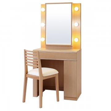 【セール】ディンプル女優ミラー(ナチュラル)一面鏡ハリウッドミラー LEDドレッサー椅子付き