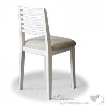 タイプAチェア(ホワイト・背ルーバー)鏡台用椅子ドレッサーチェア