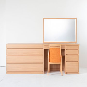 アダージョ + チェスト(ナチュラル)一面鏡ワイドミラーホテルドレッサー椅子付き【セット割】