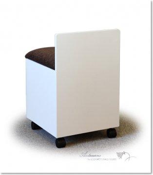 タイプIスツール(ホワイト・箱椅子収納・キャスター)鏡台用椅子ドレッサースツール