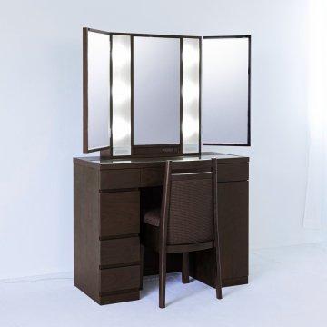 プリマ女優ミラー(ウェンジ)半三面鏡ハリウッドミラー LEDドレッサー椅子付き