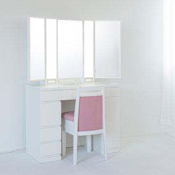 プリマ女優ミラー(パールホワイト)半三面鏡ハリウッドミラー LEDドレッサー椅子付き
